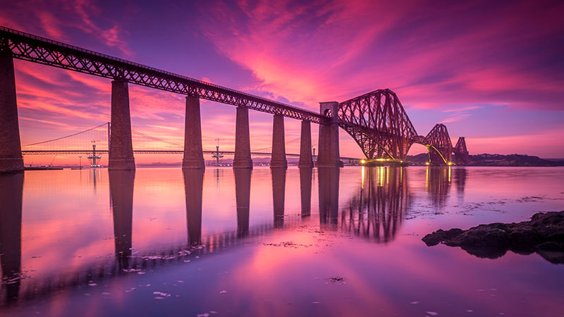 Pink and purple sunset sky at the Forth Rail Bridge