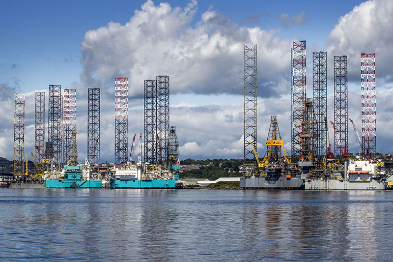 oil rigs at Forth Ports Dundee with jacking towers
