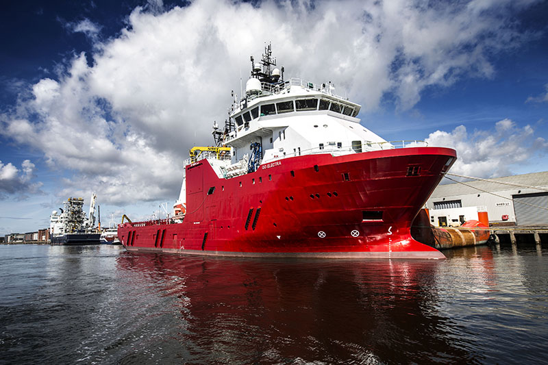 Red oil and gas vessel at Forth Ports Dundee