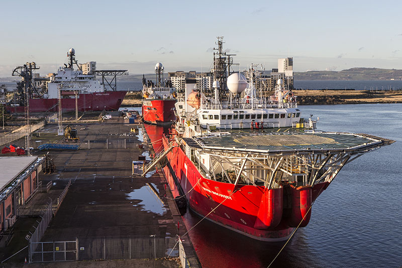 Red oil and gas vessel at Forth Ports Leith with large helipad