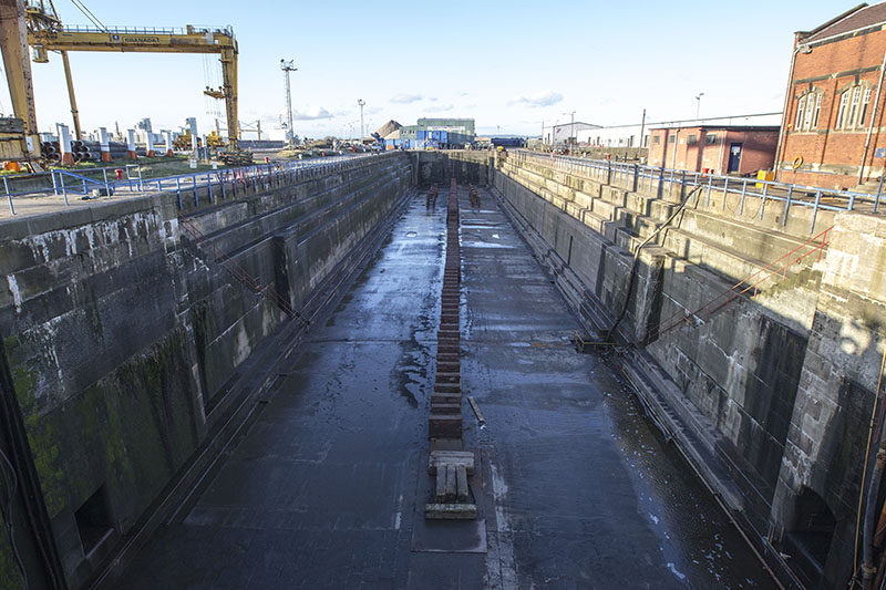Empty Imperial Dry Dock at Forth Ports Leith