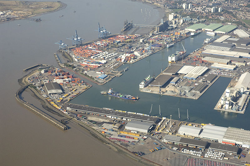 an aerial view of Port of Tilbury, looking over London Container Terminal