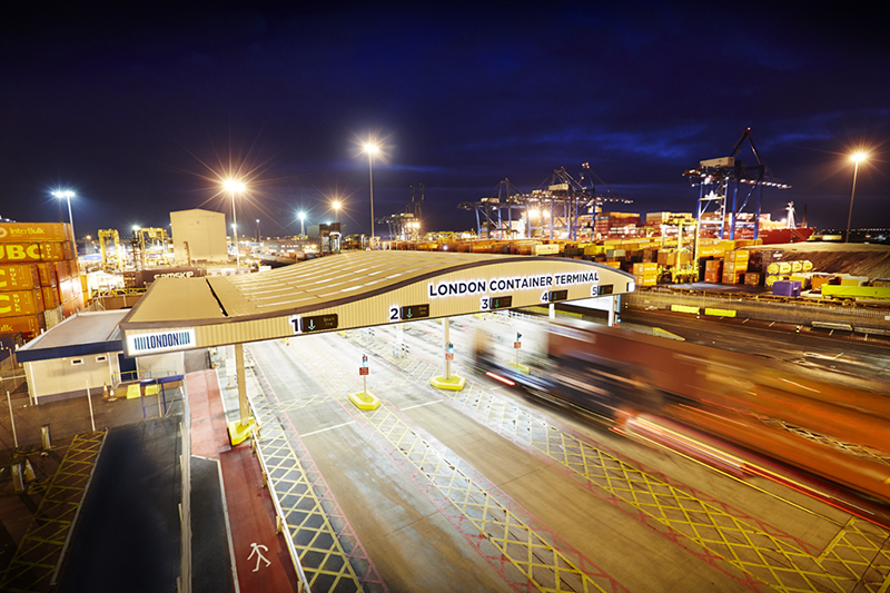 the HGV entrance to London Container Terminal at night