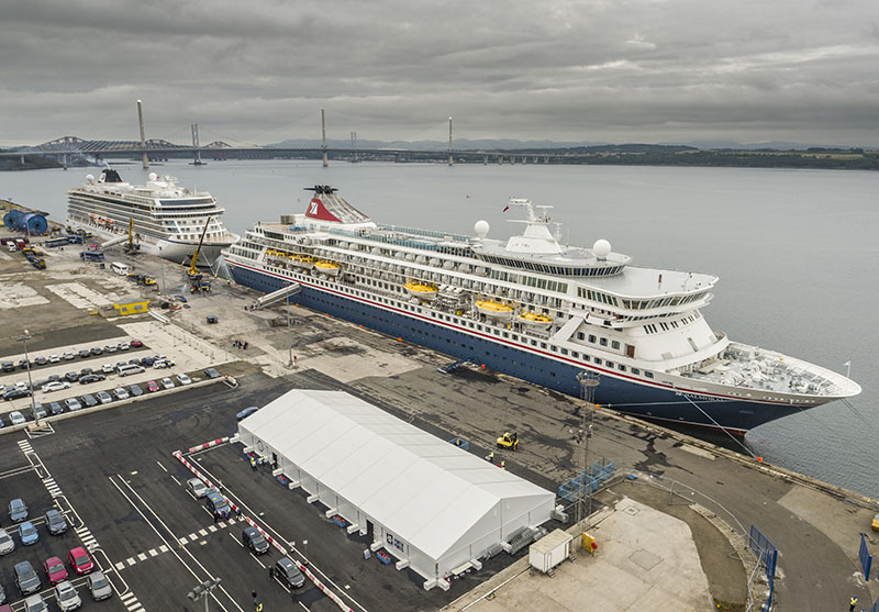 Two cruise ships alongside at Forth Ports Rosyth on a grey day