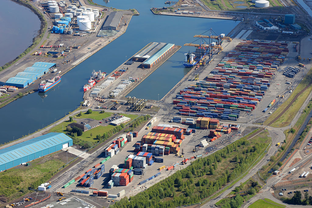 Aerial image of Grangemouth Container Terminal