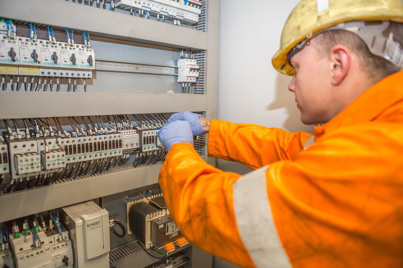 a Forth ports electrical engineer at a fuse box