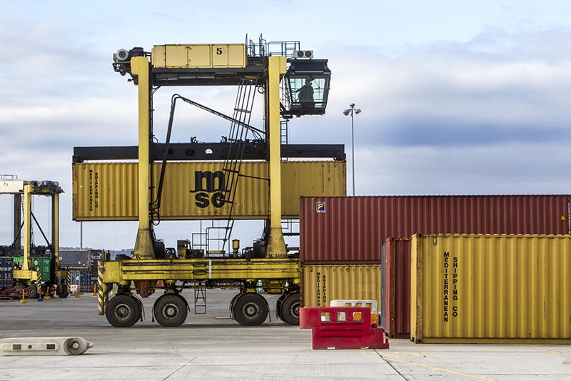a Straddle carrier putting container into stack at Grangemouth Container Terminal