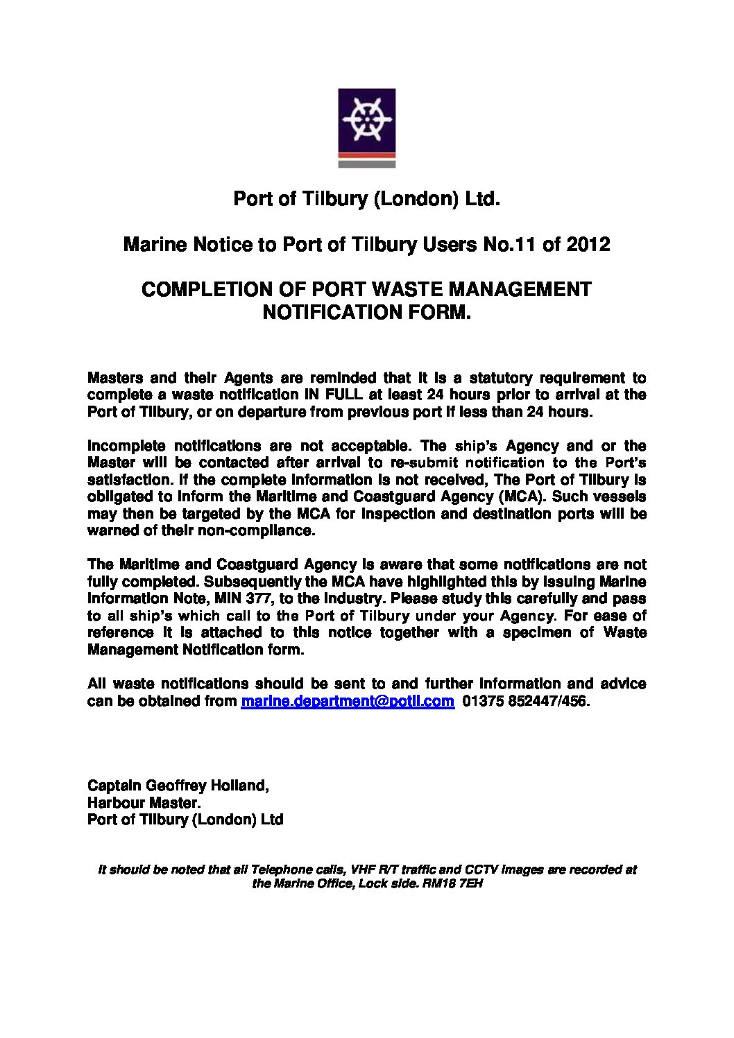 Pport Consent Forms | Tilbury Port Authority Forth Ports